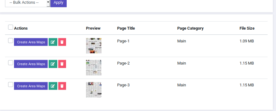 Uploading Pages in Epaper website